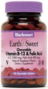 Bluebonnet Nutrition - Earth Sweet Chewable Vitamin B-12 & Folic Acid Natural Raspberry Flavor 1000 Mcg. - 90 Chewable Tablets
