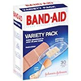 Band-Aid Adhesive Bandages Variety Pack 30 Assorted Sizes Pack of 2