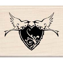 Flourish Heart with Birds Wood Mounted Rubber Stamp (97535)