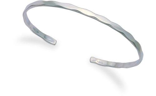 Planished, in argento puro, con finitura martellata, 7,6 GR-Bracciale rigido, dimensioni: diametro 70 mm 3030. in buona qualità, spediti in confezione regalo di prima classe della posta.