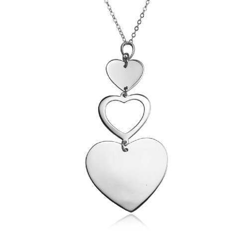 Sterling Silver Linear Hearts Pendant Necklace , 18