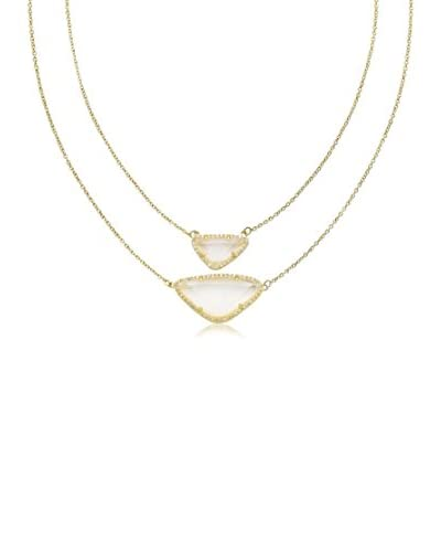 Riccova 14k Gold Plated Cz Detailed Clear Sand Stone Necklace