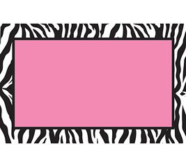 Zebra Print Pink Center Enclosure Cards 50 Pack- Gift Supplies