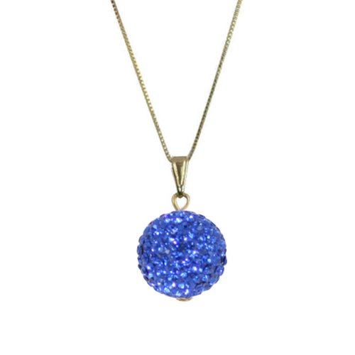 Tarantella Sapphire Blue Diamante 14ct Gold Vermeil Pendant Necklace