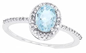0.95ct Oval Aquamarine Ring with Diamond in 14Kt White Gold-P
