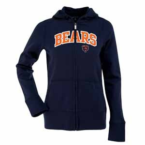 Chicago Bears Applique Womens Zip Front Hoody Sweatshirt (Team Color) - Large