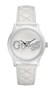Guess - W70040L1 - Montre Femme - Quartz Analogique - Cadran Blanc - Bracelet Cuir Blanc