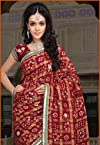 Maroon Faux Cotton Ghatchola Saree with Blouse