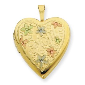 Genuine IceCarats Designer Jewelry Gift 1/20 Gold Filled 20Mm Enameled Flowers Mom Heart Locket