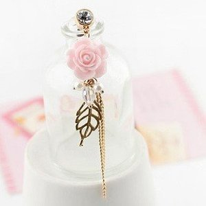 Brandbuy(TM) Earphone Jack Accessory Pink Flower Leaves Tassel Chain Beads Cell Charms Dust Plug Ear Jack For Audio Headphone / Iphone 4 4S 5S 5C 6 / Samsung Galaxy S2 S3 S4 S5 Note I9220 / HTC / Sony / Nokia / Motorola / LG / Lenovo / iPad / iPod Touch /