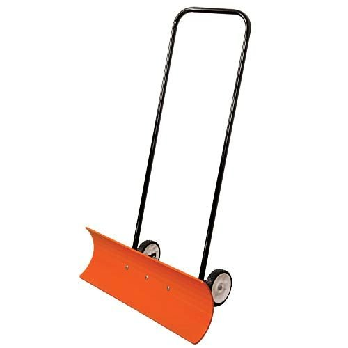 AM Leonard Poly Blade Wheeled SnoMover Snow Pusher - 36 Inches, Orange/Black