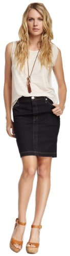 True Religion Auburn Lonestar Denim Pencil Skirt, 24, Midnight Blue at Amazon.com