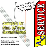 A/C Service Feather Banner Flag Kit (Flag, Pole, & Ground Mt)