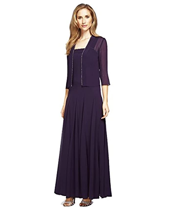 Alex Evenings 170809 Sparkling Edged Gown And Jacket Set