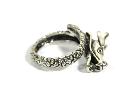 Oriental Dragon Ring Size 9 Silver Scaled Asian Chinese Serpent RG20 Cocktail Statement Fashion Jewelry