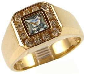 14K Yellow Gold, Fancy Ring For Men Guy Gent With Brilliant Lab Created Gems Aqua Blue Center 5.5Mm 1.0Ct