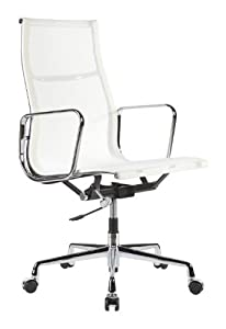 Charles Eames Style High Back Mesh Executive Office Chair In White