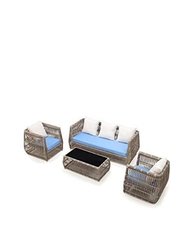 Ceets Chavaughn 4-Piece Outdoor Conversation Set, Natural/Blue/White