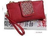 Jovanas Fashion Designer Brand Lady Women Rivet Style Pu Leather Clutch Purse Wallet Evening Bag (Red)