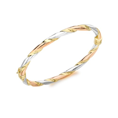 9ct Three Colour Gold Twist Bangle
