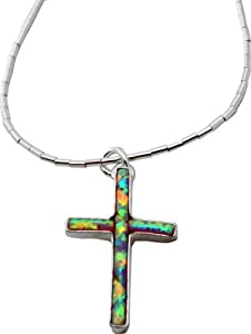 Opal Inlay Cross on Sterling Liquid Silver