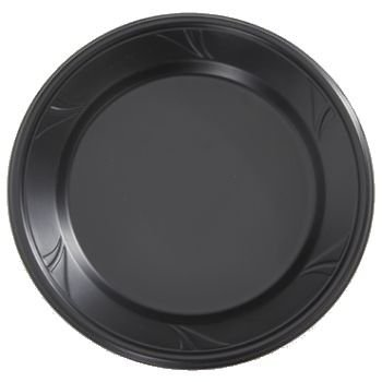 Finesse Black Microwaveable Plastic 10-Inch Dinner Plates, Made Of Polyproplyene 100 Per Box