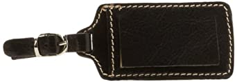 Floto Leather Luggage Tag, Black, One Size
