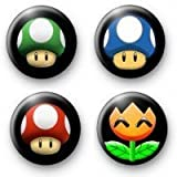 Set of 4 - SUPER MARIO BROS - Symbols Pinback Buttons 1.25
