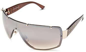 Rocawear Men's R1130 GLD Shield Sunglasses,Gold Frame/Gradient Brown Lens,one size