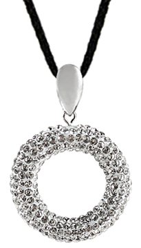 Dazzling Silver Pendant made of swarovski crystals - 3D design so both front & rear has stones - come with black silk cord necklace - made with over 110 Swarovski crystals bling bling!! - necklace is adjustable size 16