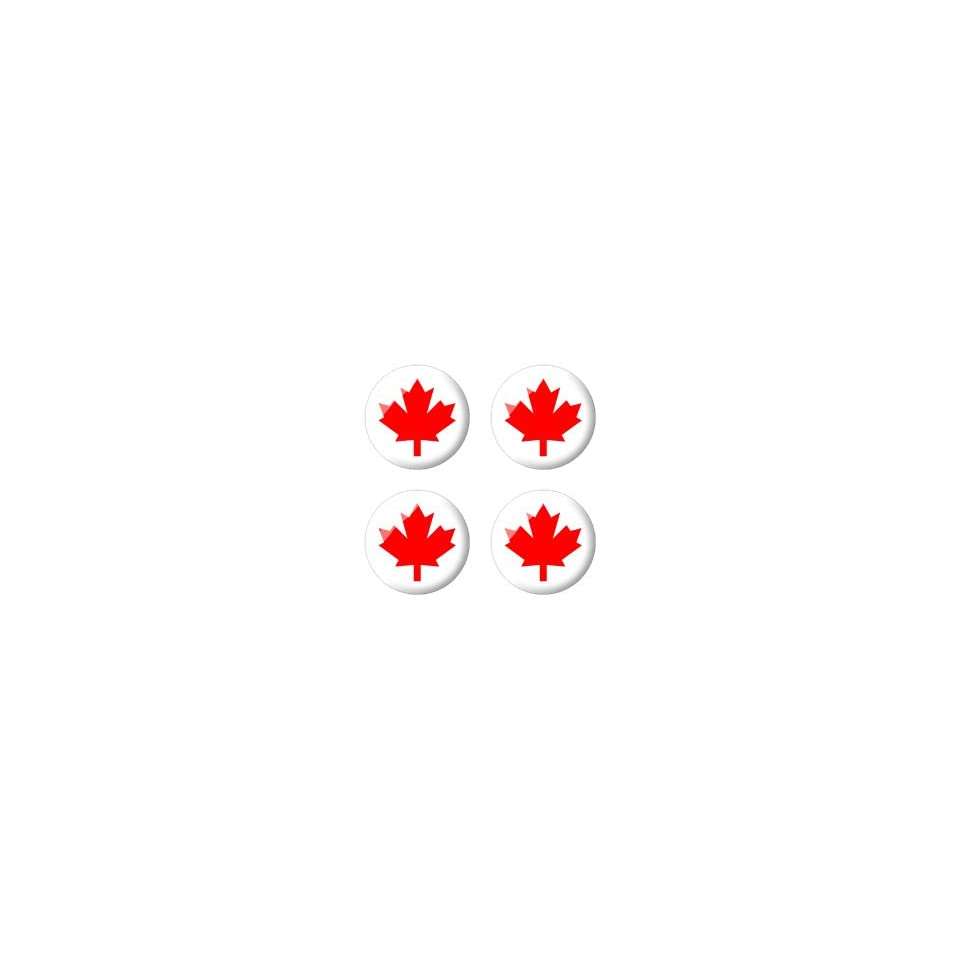 Canada Maple Leaf Flag   3D Domed Set of 4 Stickers Badges Wheel Center Cap