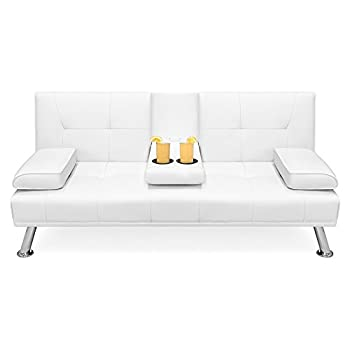 Best Choice Products Modern Faux Leather Convertible Folding Futon Sofa Bed Recliner Couch w/Metal Legs, 2 Cup Holders - White