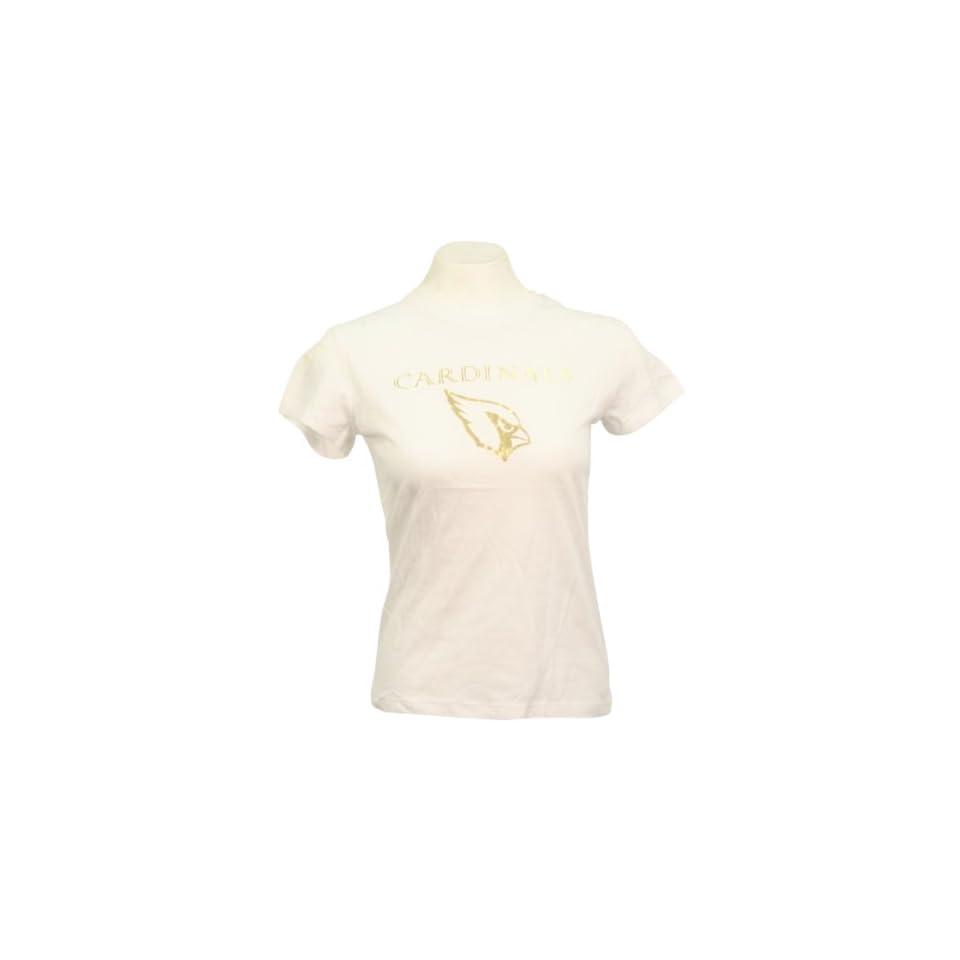 Arizona Cardinals Womens Fashion NFL T Shirt (White/Gold)