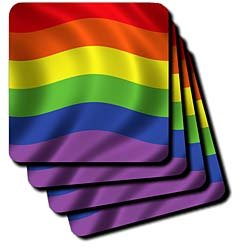 Carsten Reisinger Illustrations - Rainbow flag gay rights lesbian homosexual banner symbol symbolic waving - Coasters - set of 8 Coasters - Soft