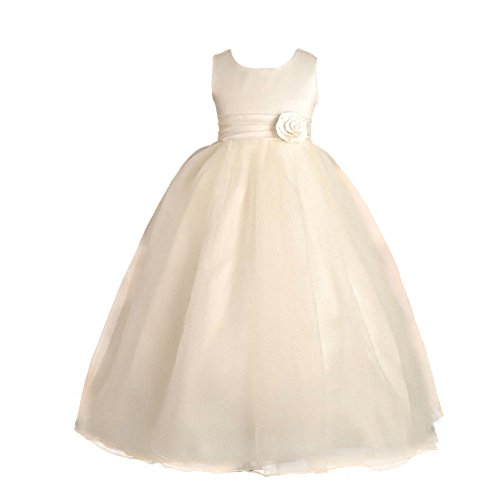 Dressy Daisy Girls' Empire Waist Wedding Bridesmaid Flower Girl Dresses Party Occasion Dress Size 4-5 Years Ivory