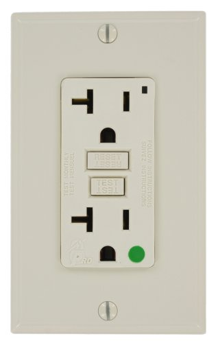 Leviton 7899-Hgt 20-Amp, 125-Volt, Hospital Grade, Smartlock Pro Gfci, Nylon Wallplate And Screws Included, Light Almond