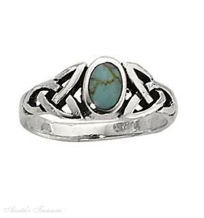 Sterling Silver Turquoise Ring Celtic Knots Shank Size 5