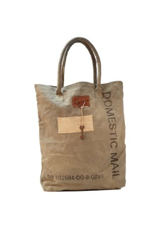 Domestic Mail Post Bag - Vintage Eco Inspired Strap Canvas Bag with Antique Key (Vintage Mail Bag compare prices)