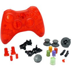 Xbox 360 - Repair Part - Controller Housing Shell - FULL SET - Clear Red
