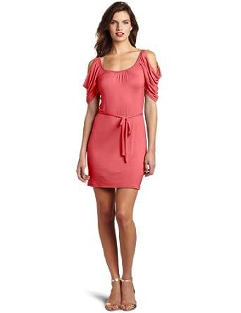 Wrapper Women's Cold Shoulder Rayon Dress, Dark Coral, X-Large