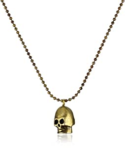 Vanessa Mooney Brass Skull Pendant Necklace