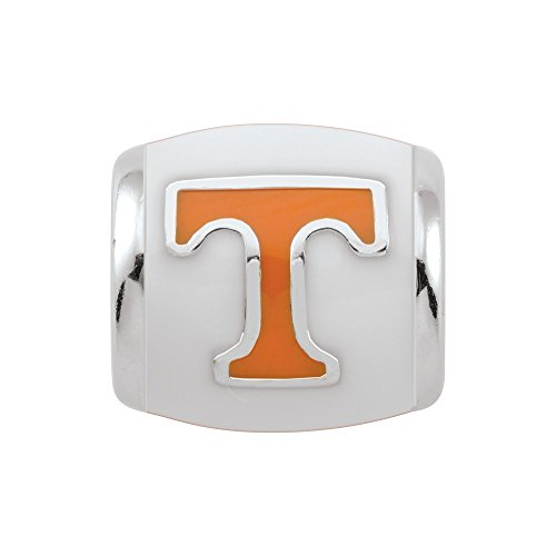 Persona Sterling Silver University of Tennessee Orange T on White Bead Charm