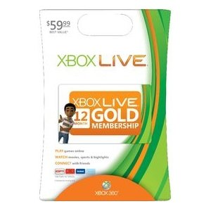 Microsoft Xbox Live Card  XBOX 360 LIVE 12MO GOLD CARD  12