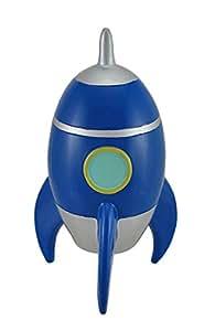 8 blue rocket ship coin safe retro toy spaceship money jar piggy bank toys games - Rocket piggy bank ...