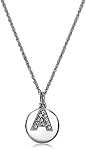 """Sterling Silver Crystal Block Initial """"A"""" Disc Pendant Necklace, 18"""""""
