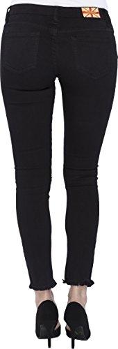 Machine Jeans Women's Skinny Jean Pencil Rip Knee Frayed Hem Mid Rise 3 Black