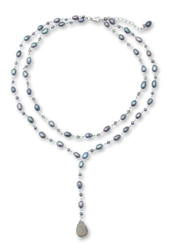 Pearl strand necklace, 'Love Blues' 0.4