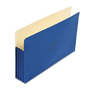 "Wilson Jones Colorlife Recycled (50%) Expanding File Pockets, Legal Size, 3-1/2"" Expansion, Dark Blue, 25/box, WCC74BL"