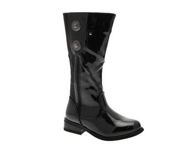NEW GIRLS KIDS KNEE LENGTH FAUX PATENT LEATHER STRETCH MILITARY RIDING BOOTS BLACK SHOES SIZES junior 8 - 2