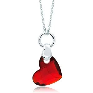 Pugster Silver Garnet Red Crystal Diamond Accent Heart Love Link Charm Charms Bracelet & Pendant Necklace